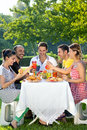 Group of multiethnic friends enjoying a meal together sitting at a table outdoors on the grass in a leafy green garden Stock Photo