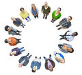 Group of Multiethnic People in a Circle Looking Up