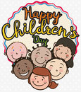 Group of Multiracial Children Smiling and Celebrating their Day, Vector Illustration