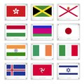 Group of national flags on metal texture plates hong kong jamaica jersey hungary kuban peoples republic japan india ireland italy Stock Photos