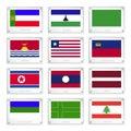 A group of national flags on metal texture plates khakassia lesotho libya kiribati liberia liechtenstein north korea laos latvia Stock Photo