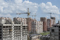 A group of new buildings of different storeys in the urban area Royalty Free Stock Photography