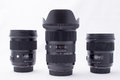 Group ofdslr lens of three dslr complete kit Royalty Free Stock Photo