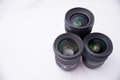 Group ofdslr lens of three dslr complete kit Royalty Free Stock Images