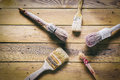 Group of  old oxide vintage tools. Paintbrushes Royalty Free Stock Photo