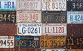 Group of old vintage American license plates Royalty Free Stock Image