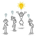 Group one stick man having bright idea vector figure illustration while others don t Stock Image