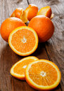 Group of oranges on a table wooden Royalty Free Stock Image