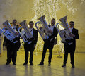 Group of orchestral posing with their wind instruments conversano italy june tuba during the cherry harvest a festival is Stock Photography