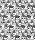 Group owl gray scale seamless pattern with birds vector illustration eps Royalty Free Stock Image