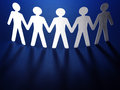 Group of paper people holding hands teamwork concept Stock Image