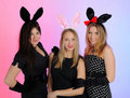 Group of party girls in funny bunny ears Royalty Free Stock Photography