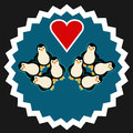 Group of penguins with heart