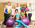 Group people in aerobics class fitness ball Royalty Free Stock Photo