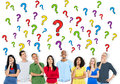 Group of people asking questions Royalty Free Stock Images