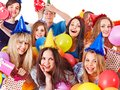 Group people with balloon on party. Stock Photos