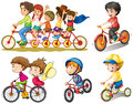 A group of people biking illustration on white background Royalty Free Stock Image