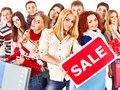 Group people with board sale. Royalty Free Stock Photo