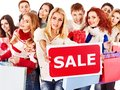 Group people with board sale. Stock Images