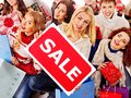 Group people with board sale and shopping bag Royalty Free Stock Image