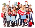 Group people with board sale and shopping bag Stock Photography