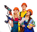 Group people builder with construction tools isolated Stock Photo
