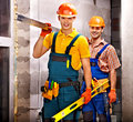 Group people in builder uniform happy Stock Photo