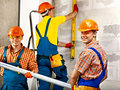 Group people in builder uniform happy Stock Image