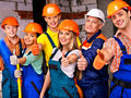 Group people in builder uniform happy thumb up Royalty Free Stock Photography