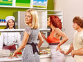 Group people at cafeteria women buying food Stock Photo
