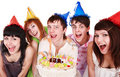 Group people with cake celebrate happy birthday. Royalty Free Stock Photo