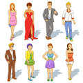 Group of people cartoon eps file simple technique Royalty Free Stock Image