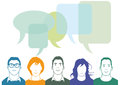 Group of people chatting illustrated diverse with speech balloons and copy space communication concept Royalty Free Stock Images
