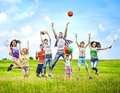 Group people with children running happy summer outdoor Stock Images