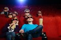 Group of people in cinema d glasses watching movie Royalty Free Stock Photography