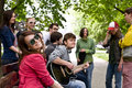 Group of people on city. Music. Royalty Free Stock Photo