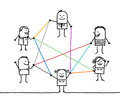 Group of people connected by color lines hand drawn cartoon characters Stock Photo