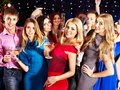 Group people dancing at party with champagne Royalty Free Stock Photo