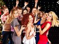 Group people dancing at party with champagne Royalty Free Stock Photography