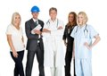 Group of people in different occupations on white and professions over background Royalty Free Stock Photo