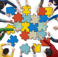 Group People Forming Jigsaw Puzzles Concept