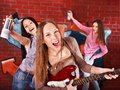 Group people with guitar. Stock Image