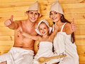 Group People In Hat  At Sauna