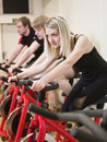 Group of people having spinning class Royalty Free Stock Photos