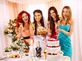 Group people at hen party before wedding Royalty Free Stock Images