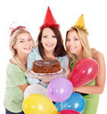 Group people holding cake. Royalty Free Stock Images
