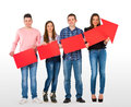 Group of people holding a red arrow Stock Image