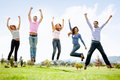 Group of people jumping Royalty Free Stock Photo