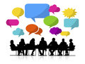 Group of People Meeting with Speech Bubbles
