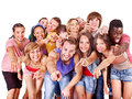 Group people multi ethnic isolated Stock Photography